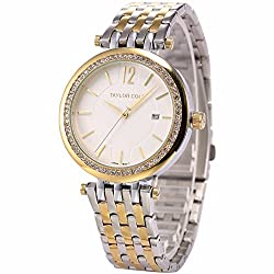 Mix&Rock Taylor Cole Calendar Display Golden Stainless Steel Date Analog Quartz Watch