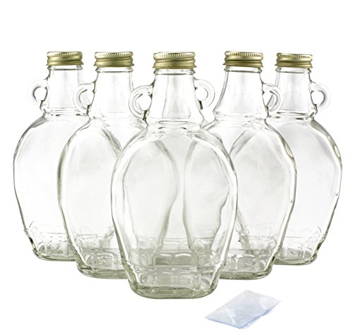 8oz Bulk Glass Empty Syrup Bottles For Canning, 6 Pack with Metal Lids, Glass Maple Syrup Bottles