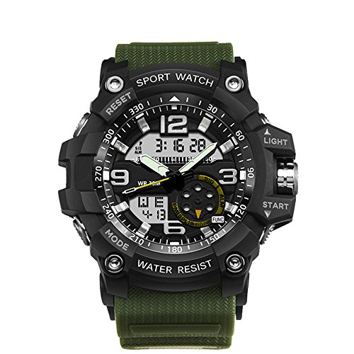 Bounabay Men's Analog Digtal Sport Wrist Watch Dual Quartz Movement Backlight with Water Resistant,Army Green
