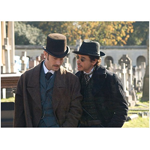 Sherlock Holmes 8 x 10 Photo Robert Downey, Jr. in Sunglasses Whispering to Jude Law in Bowler Hat - Sunglasses Robert Downey