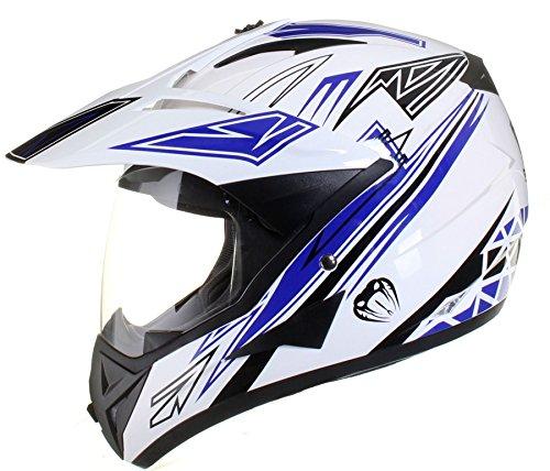 Qtech - Motocross-Helm mit Visier - für Offroad/Enduro/Touring Sport - Blau - M (57-58 cm)