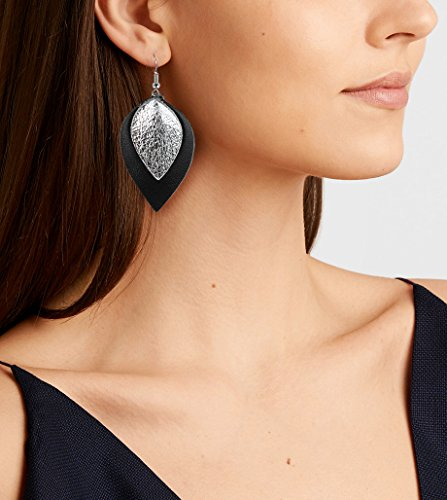Genuine Leather Earrings 3 Pairs Silver Black Gunmetal Metallic Leather Teardrop Dangle Earrings Set for Women Girls by Me&Hz (Image #1)