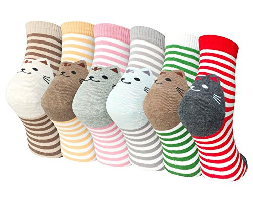 Womens Girls Cute Cat Cotton Socks Comfortable Colorful Funny Casual Animal Pattern Crew Sock, 5 Pairs (Mixed color-6 pack), One size - Vivid Pattern