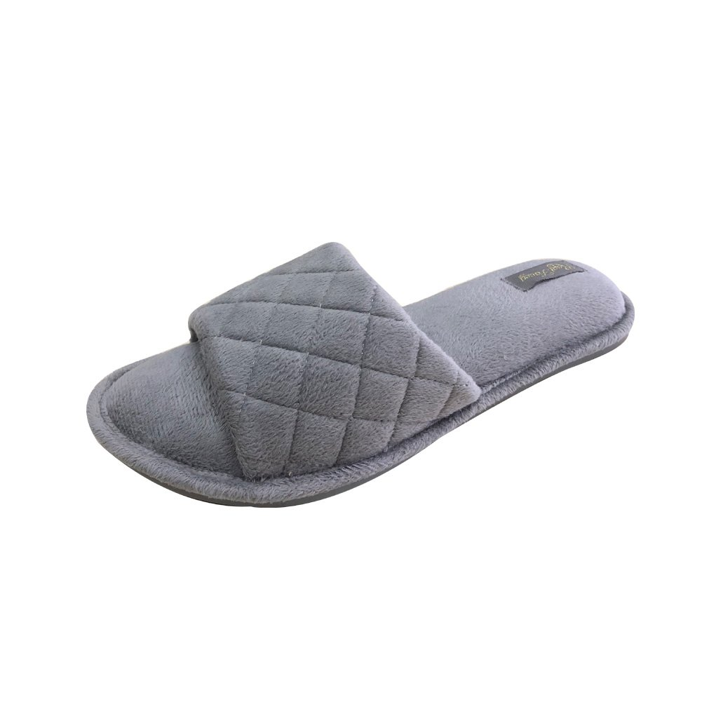 Real Fancy Open Toe Slippers for Women Terrycloth with Comfy Velvet Lining Spa House Slipper (M, Charcoal)