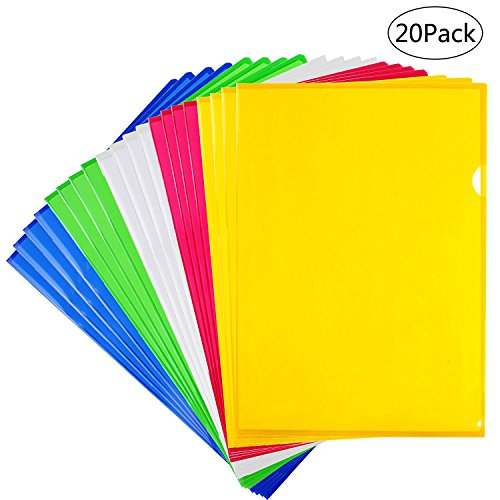 LoveS Clear Document Folder Project Pockets, Folders with Pockets, A4 size, Set of 20 in 5 assorted Colors