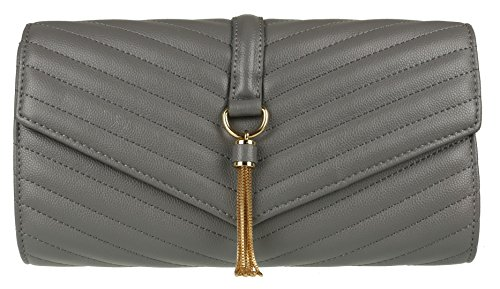Bag Quilted Charcoal Tassel Girly Clutch HandBags 8wYI7qYSz