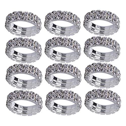 (SM SunniMix 12Pcs Crystal Rhinestone Elastic Stretch Stretchy Toe Finger Ring Wedding Party Jewellery - Clear)