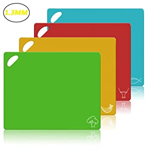 Flexible Cutting Board CHIENTUNG Cutting Mats Plastic Chopping Mats Sheets for Kitchen Dishwasher Safe, Food Icons & Easy-Grip Handles, BPA-Free, Non-Porous(Set of 4)