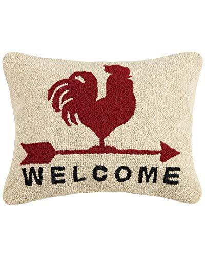 Peking Handicraft Rooster Welcome Hook, 14x18 Throw Pillow