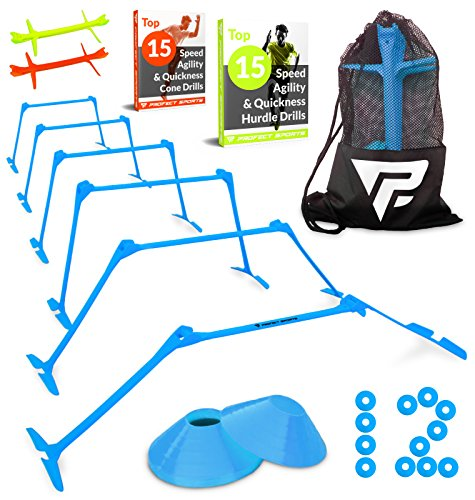 Pro Adjustable Hurdles and Cone Set – 6 Agility Hurdles (6″, 9″ or 12″ Peak) with 12 Disc Cones for Soccer, Sports activities, Plyometric Speed Training – Includes Carry Bag & 2 Agility Drills eBooks – DiZiSports Store