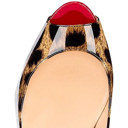 MerMer Zapatos De Tacón Alto de Aguja Con Plataforma Poca de Pez Talón Abierto De Moda Leopardo para Fiesta