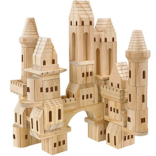 FAO Schwarz Wooden Castle Building Blocks Set, Natural Unfinished Wood Block Toys Kit for Kids, Toddlers, and Baby, Build Solid Hardwood Medieval Castles with Turrets and Towers, 75 Piece Set