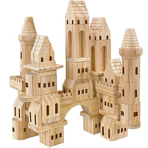 Giant Building Bricks - FAO Schwarz 75 Piece Educational Children's Wooden Castle Building Blocks Set Spark Your Child's Imagination, Develop Essential Skills, Durable & Safe Constructions Blocks, Perfect Gift Idea