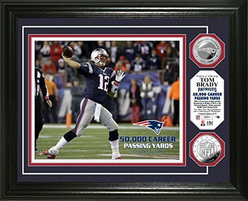 NFL New England Patriots Tom Brady ''50,000 Yards'' Photo Minted Coin, 17'' x 14'' x 3'', Silver by The Highland Mint