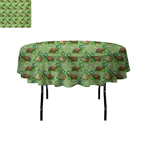 GloriaJohnson Nursery+Waterproof+Anti-Wrinkle+no+Pollution+Pattern+with+Cartoon+Funny+Turtles+on+Green+Spring+Meadow+with+Daisies+Round+Tablecloth+D63+InchGreen+Brown+Sand+Brown+