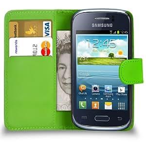 Mobi Plus Samsung Galaxy S6310 joven de cuero verde tirón de la carpeta del caso de la cubierta de la bolsa