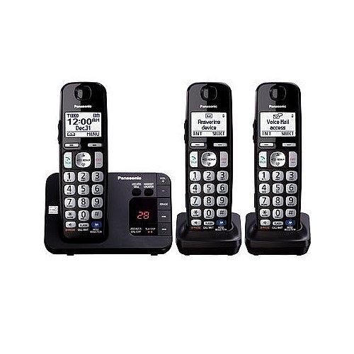 Panasonic KX-TGE233B DECT 6.0 Plus Technology (1.9GHz) Wall Mountable Range Extender Compatible Expandable Cordless Digital Phone with Large Keypad - 3 Handsets by Panasonic