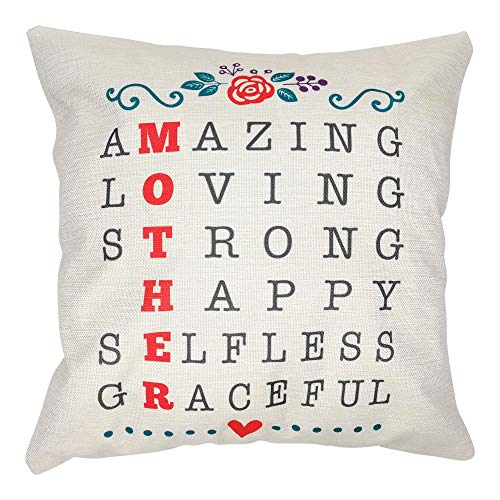 Arundeal 18 x 18 Inch Amazing Loving Strong Happy Selfless Graceful Mother Cotton Linen Square Throw Pillow Cases Cushion Cover