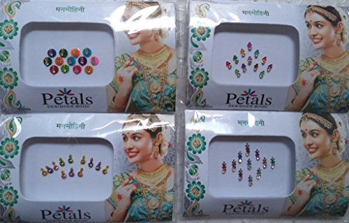 Bindi Store Indian Designer Bindi for Women 4 Pack Traditional Colourful Bindi
