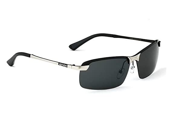 Dayiss Fashion Polarisierte Sonnenbrille herren halbrand UV400 Schutz (Silber/Grau) jvu0hwfdQ