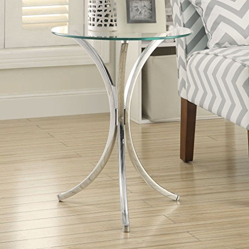 (Glass Top Chrome Base Round Side End Table)