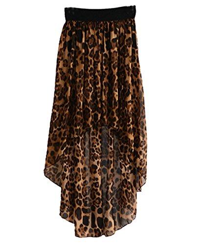 Mädchen Damen Chiffonrock Schwalbenschwanzrock Asymmetrisches Kurz vor langer Sommerrock Strandrock (Leopard)