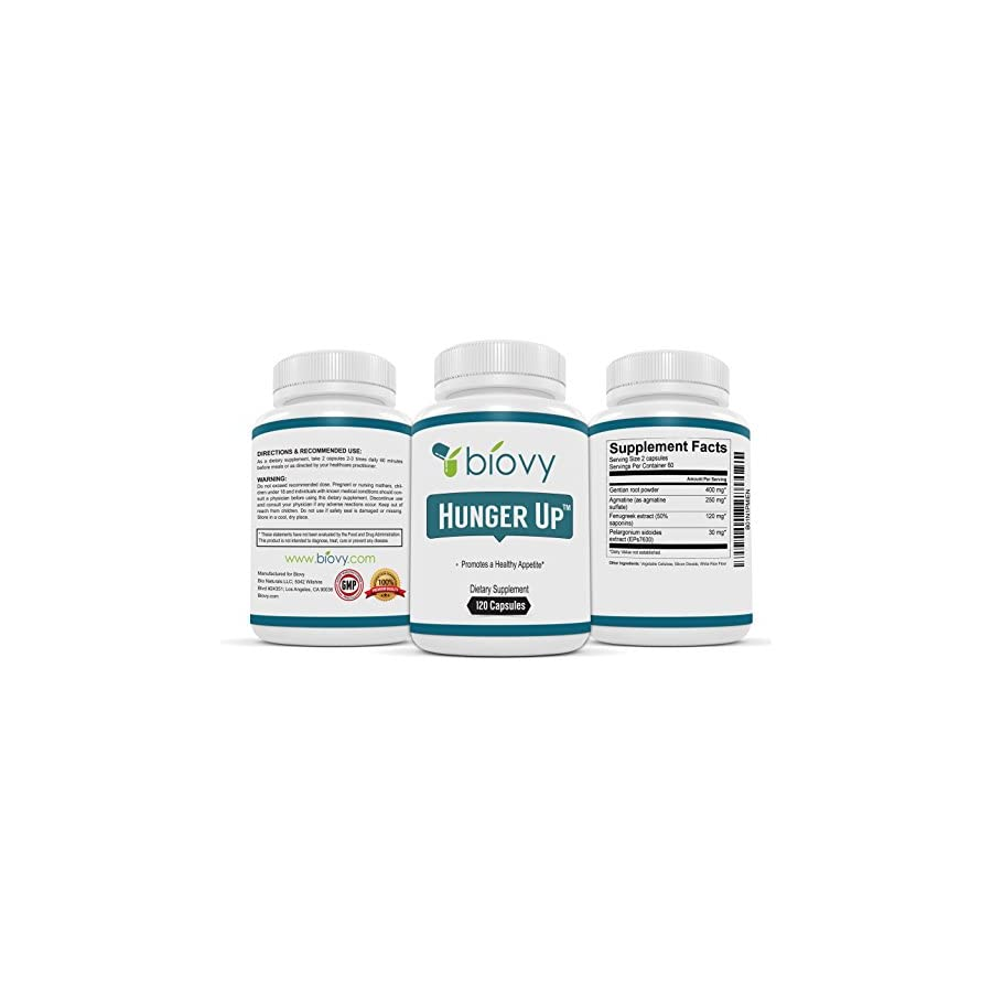 HUNGER UP™ Best Appetite Stimulant by Biovy (with No Magnesium Stearate) Effective Weight Gain Pills Including Fenugreek extract To Increase Appetite & Gain Weight In All The Right Places