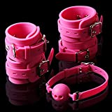 100% Silicone Sex Fetish Bondage Set Wrist Ankle Cuffs Hand Feet Restraint toys Mouth Ball Gag Sex Toy For Couples Sex Products