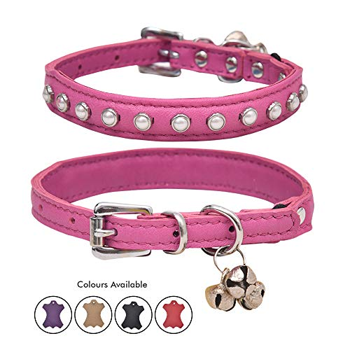 - Ultra Soft Real Lamb Leather Glass White Pearl Studded Cat Collar with Break Away Safety Elastic Embellished with Detachable Handcrafted Indian Bells (One Size, Pink)