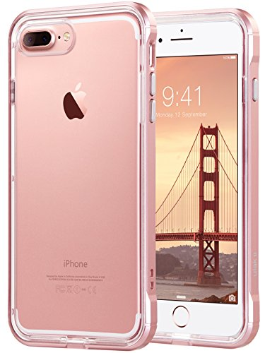 iPhone 8 Plus Case, iPhone 7 Plus Case, ULAK Reinforced Frame Crystal Clear Durable Shock-Absorption Flexible Soft Rubber TPU Bumper Hybrid Protective Case for iPhone 7 Plus/8 Plus Rose Gold Clear Pink Case