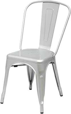 ModHaus Silver Xavier Pauchard Tolix A Style Chair in Powder Coat Finish Galvanized Steel Metal Stackable