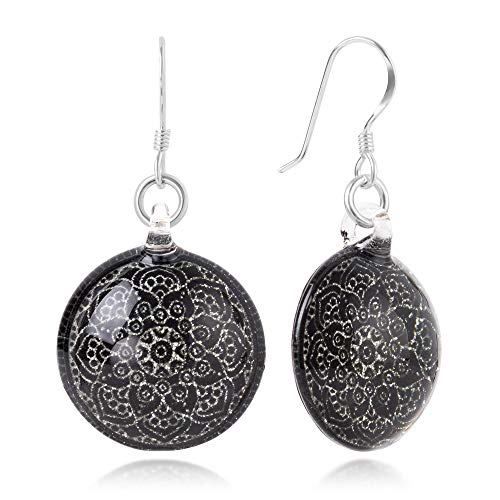 Sterling Silver Hand Blown Venetian Murano Glass Black Mandala Flower Dangle Earrings