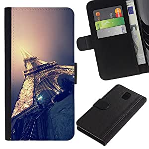 KingStore / Leather Etui en cuir / Samsung Galaxy Note 3 III / Paris Lumière Nuit Ville France