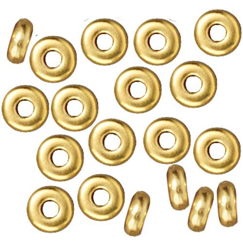 TierraCast Bright 22K Gold Plated Lead-Free Pewter Disk Heishi Spacer Beads 4mm (50)