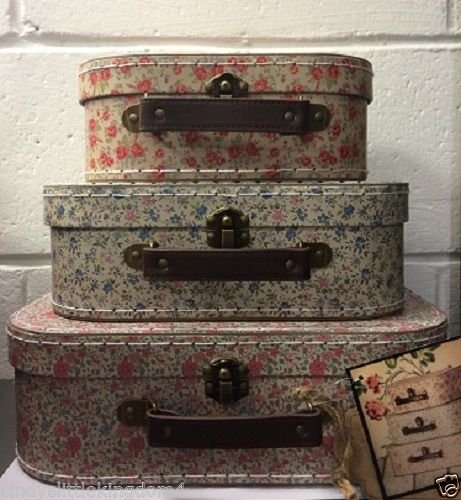 New Vintage Floral Print Set Of 3 Stackable Suitcase Storage Boxes Wedding