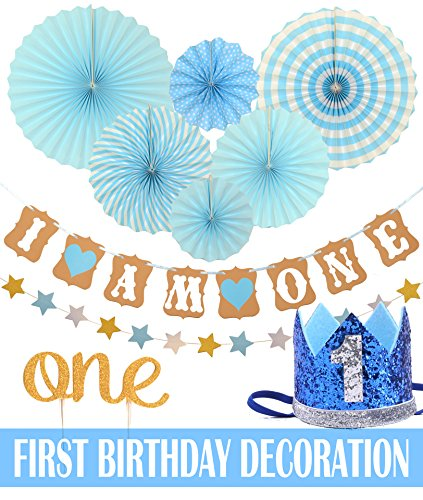 Meant2ToBe FIRST BIRTHDAY DECORATION SET FOR BOY- 1st Baby Boy Birthday Party, Blue Hat Crown, Circle Dots Paper Garland, Cake Topper -One, Banner, Fiesta Blue Hanging Paper Fan Flower - 1st Birthday Boy Party Decorations