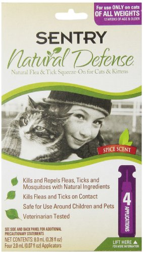 Sentry 4 Count Natural Defense Flea and Tick Squeeze-On for Cats (Sentry Natural Defense Natural)