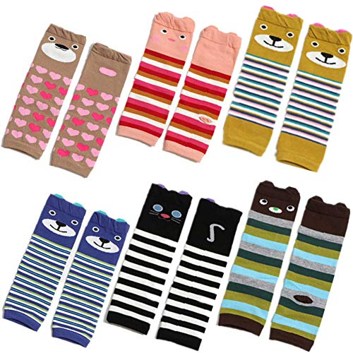 6 PCS Baby Toddler Leg Warmers Knee Protector for Girls Boys Crawling Anti-Slip Knee Pads in Various - Infant Warmers Leg