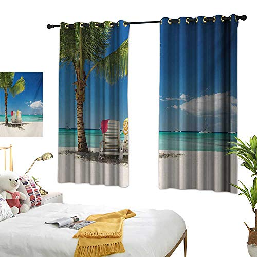 Superlucky Thermal Insulating Blackout Curtain,Seaside,55