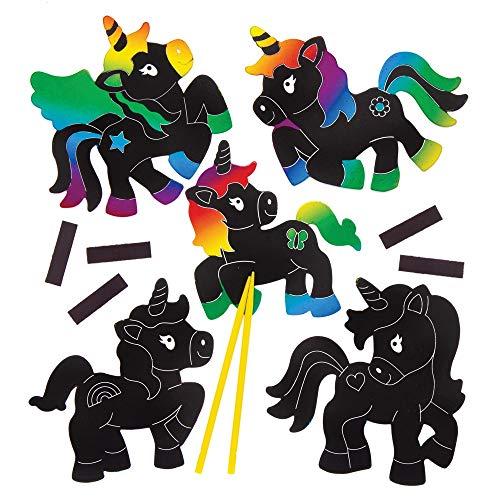 Baker Ross Unicorn Scratch Art Magnets (Pack