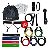 Famco Fitness 17 Pc Heavy Duty Resistance Bands Set Home Gym with Speed Jump Rope for Men and Women | 5 Tube Exercise Bands | 4 Flat Fitness Bands | Carry Bag | Crossfit WOD Rehab | Exercise Charts For Sale
