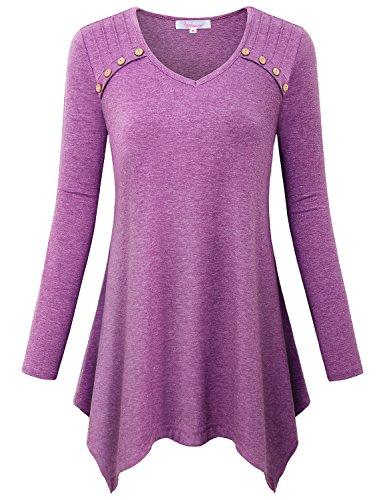 Misswor Irregular Blouse, Womens V Neck Tunic Tops to Wear with Legging Flare Full Sleeve Asymmetrical Hem Flow Long Sleeve T Shirt Plus Size Clothing Purple (Embellished Long Sleeve Jersey T-shirt)
