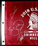 2018 Us Open Signed Autographed Field Flag Rickie Fowler Reed Day Rahm Coa - JSA Certified - Autographed Pin Flags