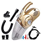 Womdee 10 in 1 Car Interior Vacuum Cleaner, Multi-Functional Handheld Auto Dust Buster with Built-in Tyre Inflator/Pressure Gauge/LED Light, Wet/Dry Hoover, for Pet Hair/Car Cleaning
