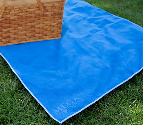 "MEGALOVEMART Set of 2 Super Absorbent 15"" x 24"" Suede Non Slip Microfiber Sports, Gym & Outdoor Towels - Blue"