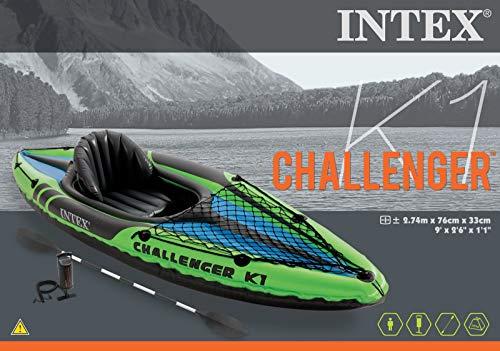 Intex 68305 K1 Challenger Kayak 1 Man Inflatable Canoe with Aluminum Oars...