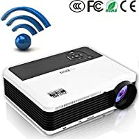 EUG Wireless HD Android Video Projector 1080p HDMI Support Airplay Miracast Screen Mirror 3600 Lumen Wifi LED LCD Home Outdoor Theater Projector for TV Computer Smartphone Native 1280x800