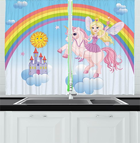 Ambesonne Fantasy Decor Kitchen Curtains, Happy Princess on a Unicorn in Clouds with Rainbow Fairy Tale Kingdom Girls Image, Window Drapes 2 Panels Set for Kitchen Cafe, 55W X 39L inches, Multi - Fairy Tale Window