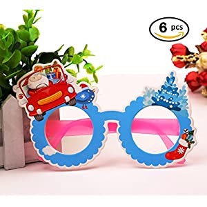 Novelty Christmas Glasses Frame 6 pcs Party Props Decoration Eyeglasses Snowman in Car Design No Lenses Sunglass for Kids Family Holiday Gift