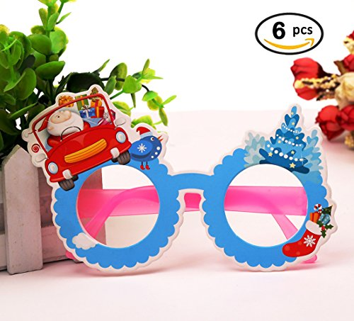 Novelty Christmas Glasses Frame 6 pcs Party Props Decoration Eyeglasses Snowman in Car Design No Lenses Sunglass for Kids Family Holiday - Eye Q Sunglasses